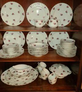 "HANDPAINTED BOND WARE SERVICE FOR 8 WITH ROSES. 8 DINNER PLATES 9.5"", 8 SALAD PLATES 7.5"","