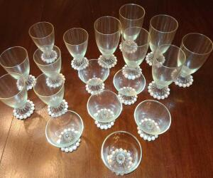 "1940 BUBBLE BOOPIE ANCHOR HOCKING CRYSTAL GLASSES. 6 WATER GLASSES 7"", 6 JUICE GLASSES 5.5"", AND"