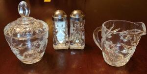 "VINTAGE STAR PATTERN GLASS SUGAR 5"" AND CREAMER 3.5"" SET AND SALT AND PEPPER SHAKER."