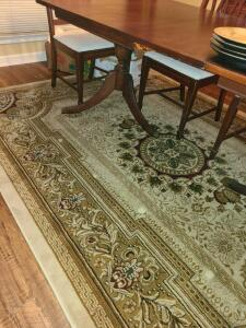 "VERY NICE ROOM RUG 113.5"" X 78.5"". BROWNS, TANS, TEAL AND MAROON. CLEAN, NO WEAR."