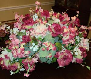 "EXTRA LARGE SILK FLORAL ARRANGEMENT IN A BASKET 18"" TALL X 28"" LONG X 24"" WIDE."