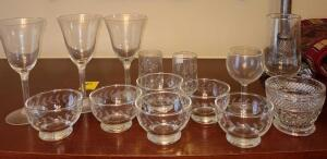 MIXED GLASSWARE. SEVERAL ETCHED PIECES FROM PRINCESS HOUSE FRANCE.