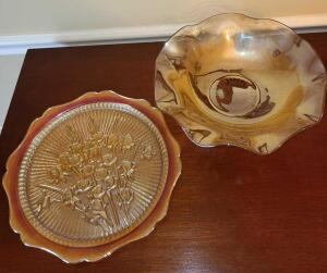 "OPALESCENT PUMPKIN MARIGOLD CARNIVAL GLASS LARGE BOWL 3"" X 11"" AND SERVING TRAY 11.5"""