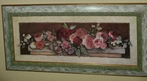 "FRAMED PRINT BY C. WINTERLE OLSON FLORAL 11.5"" X 23"""