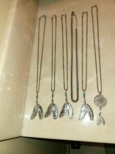 6 SILVER NECKLACES NATIVE AMERICAN THEME 20""