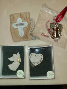 2 LENOX CHRISTMAS PINS, PREMIER DESIGN ANGEL BLESSED, KINDNESS CROSS