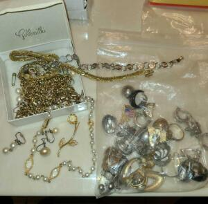 VINTAGE JEWELRY: CLIP ON EARRINGS, BRACELETS, PINS. SEE PICTURES