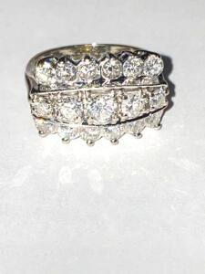 14 karat white gold ring with three row diamond princess cut and 17 row brilliant full cut diamond estimated carat weight is 1.95 carats total weight