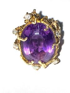 14 k yellow gold freeform Amethyst and diamond ring