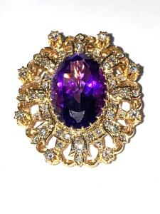 14 k yellow gold Amethyst and Diamond pin/pendant brooch