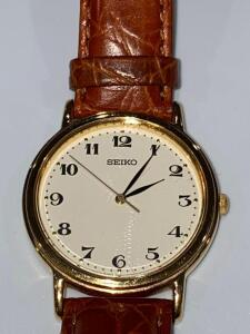 Seiko watch with leather band