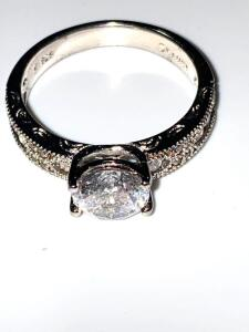 Sterling silver and CZ stone ring size 10, 4.7 g total weight