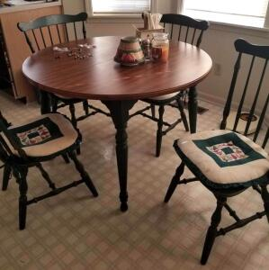 "DINETTE TABLE, 4 CHAIRS. 44"" ROUND HAS TWO LEAFS 9.75"" EACH SO CAN BE 54"" OR 64"" OBLONG."