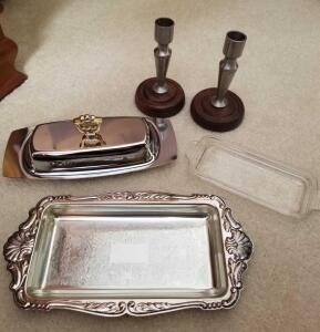 VINTAGE BUTTER DISHES: ONE IS FROM ALCOA ALUMINUM COMPANY INCLUDES LID, GLASS DISH, AND TRAY AND