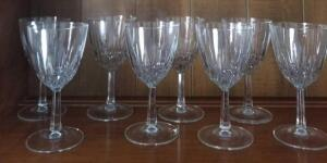 "8 CRYSTAL WINE GLASSES 5"" TALL. NO CHIPS OR CRACKS."