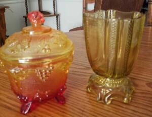 "AMBERINA GLASS CANDY DISH W LID 6"" X 4.5"" AND AMBER VASE 5.5"""