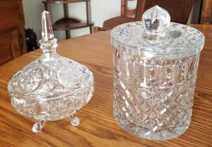 "VINTAGE GLASS CANDY DISHES. 6"" TALL, 8"" TO TOP OF NOB, 5.5"" DIAMETER AND OVAL IS 8"" X 3.5"" X 5"""