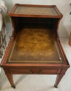 "ANTIQUE TWO TIER TABLE ON CASTER WHEELS WITH DRAWER. 15.5"" TO BOTTOM TIER, 23.5"" TOP TIER, 19"" WIDE,"