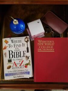 "ITEMS ON TABLE: ""WHERE TO FIND IT IN THE BIBLE"", ""WEBSTER NEW WORLD DICTIONARY"", LEADING PEOPLE TO"