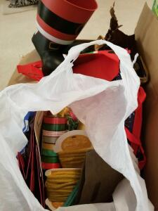 BOX LOT: CHRISTMAS RIBBONS AND BAGS, BIRTHDAY BAGS, SMALL CHRISTMAS TREES, SANTA BUCKET, AND
