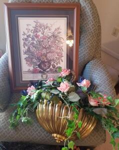 "FRAMED AND MATTED JULY FLORAL PRINT 23"" X19"". GOLD COLOR WALL PLANTER WITH SILK FLOWERS 17"" WIDE"