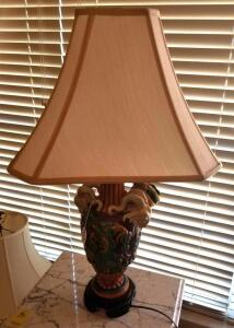 "URN STYLE LAMP WITH GRAPES AND RAM HEADS 30"" TALL, SHADE 16"" SQUARE, HAS $65 PRICE TAG"