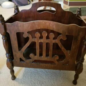 "WOODEN LYRE DESIGN MAGAZINE RACK 16"" TALL, 15"" WIDE, 8"" DEEP"