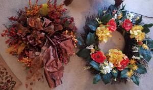 "TWO GRAPEVINE AND SILK FLOWER WREATHS: AUTUMN COLORS 16"" AND SPRING 22"""