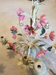 "VINTAGE FLOWER CHANDELIER 19"" by 19"". DON'T MAKE THEM LIKE THIS ANYMORE. THEY SELL $300-1500 ONLINE"