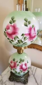 "VINTAGE HANDPAINTED GONE WITH THE WIND STYLE LAMP 21"" TALL, TOP GLOBE HAS A REPAIRED CRACK."
