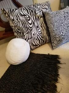 "HAND CROCHETED LAP/SHOULDER THROW 60"" X 22"", VERY SOFT. BLACK AND WHITE PILLOW 13"", BLACK AND WHITE"