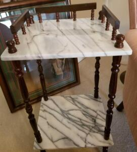 "TWO SHELF MARBLE AND WOOD TABLE 26"" TALL, 14"" WIDE, 12"" DEEP"