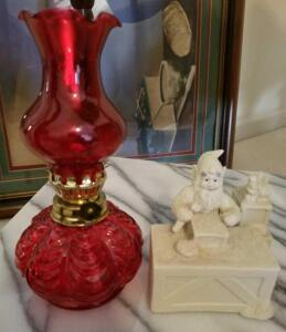 "7"" RED OIL LANTERN AND PORCELAIN ELF TOYMAKER"