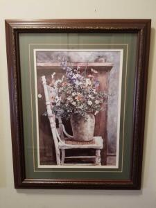 "FRAMED AND MATTED PRING BY PATTON WILSON "" MORNING ARRANGEMENT"" 20.5"" X 16"""