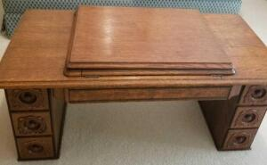 "ANTIQUE SEWING TABLE REPURPUSED AS A COFFEE TABLE 13"" X 41"" X 17"". INCREDIBLE IDEA AND BEAUTIFUL!"