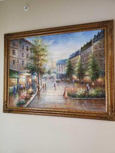 Fabulous oil painting of a street scene in Paris