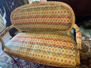 Fabulous French style settee with gold painted trim