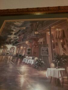 New Orleans evening cafe scene print by B. Brown. . 26 x 26