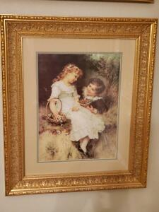 Sweet Victorian boy and girl print by trade mark pears.