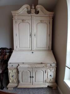 Fabulous Haverty large secretary with hook ups for usb, electric, and phone.