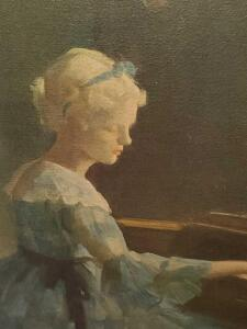 Gorgeous painting of lady in formal gown playing piano.