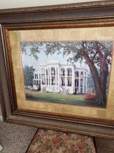 Print of Plantation home with welcoming arms staircase.