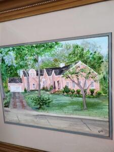 Wonderful painting of home at 1074 Vandegaer Avenue, Many, Louisiana, by local artist.