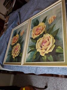 A pair of lovely vintage framed prints of roses.
