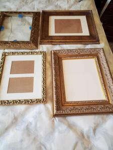 Four ornate frames. 17 x 19 and 16 x 13