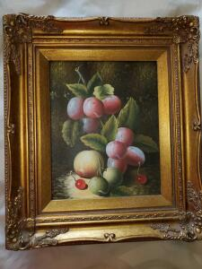 Fruit painting in gold frame.