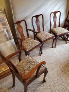 Set of 4 antique chairs with tapestry seats. 2 have arms.