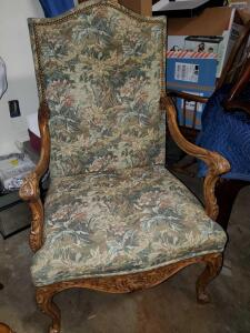 Beautiful quality Sherrill furniture chair. Gorgeous detail in the woodwork.