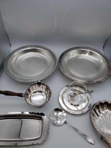 Grouping of William Rogers silver plate serving pieces.