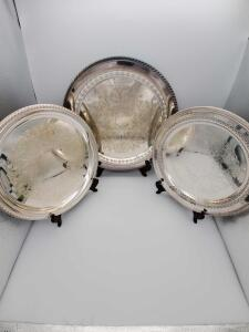 "Three lovely silver plate trays. 12"" and 15"""